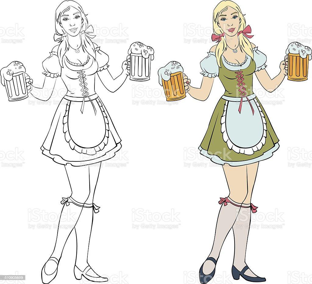 Oktoberfest - girl with beer royalty-free stock vector art