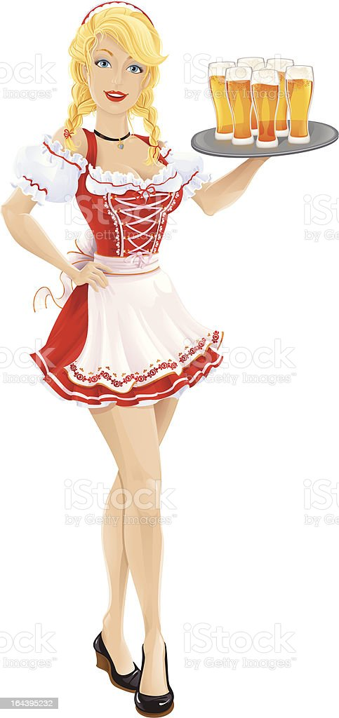Oktoberfest girl with tray of beer royalty-free stock vector art
