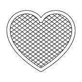 Oktoberfest heart icon in outline style isolated on white backgr