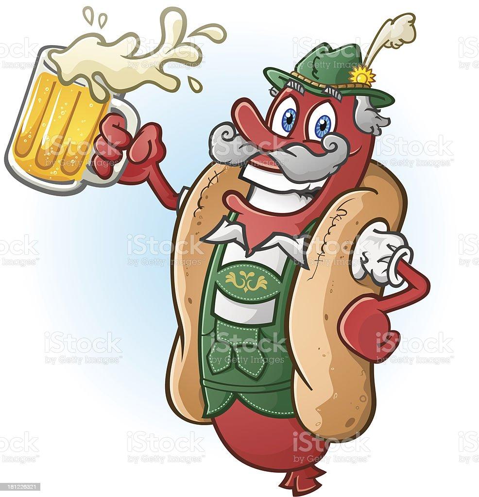 Oktoberfest Hot Dog Cartoon Character Drinking Beer royalty-free stock vector art