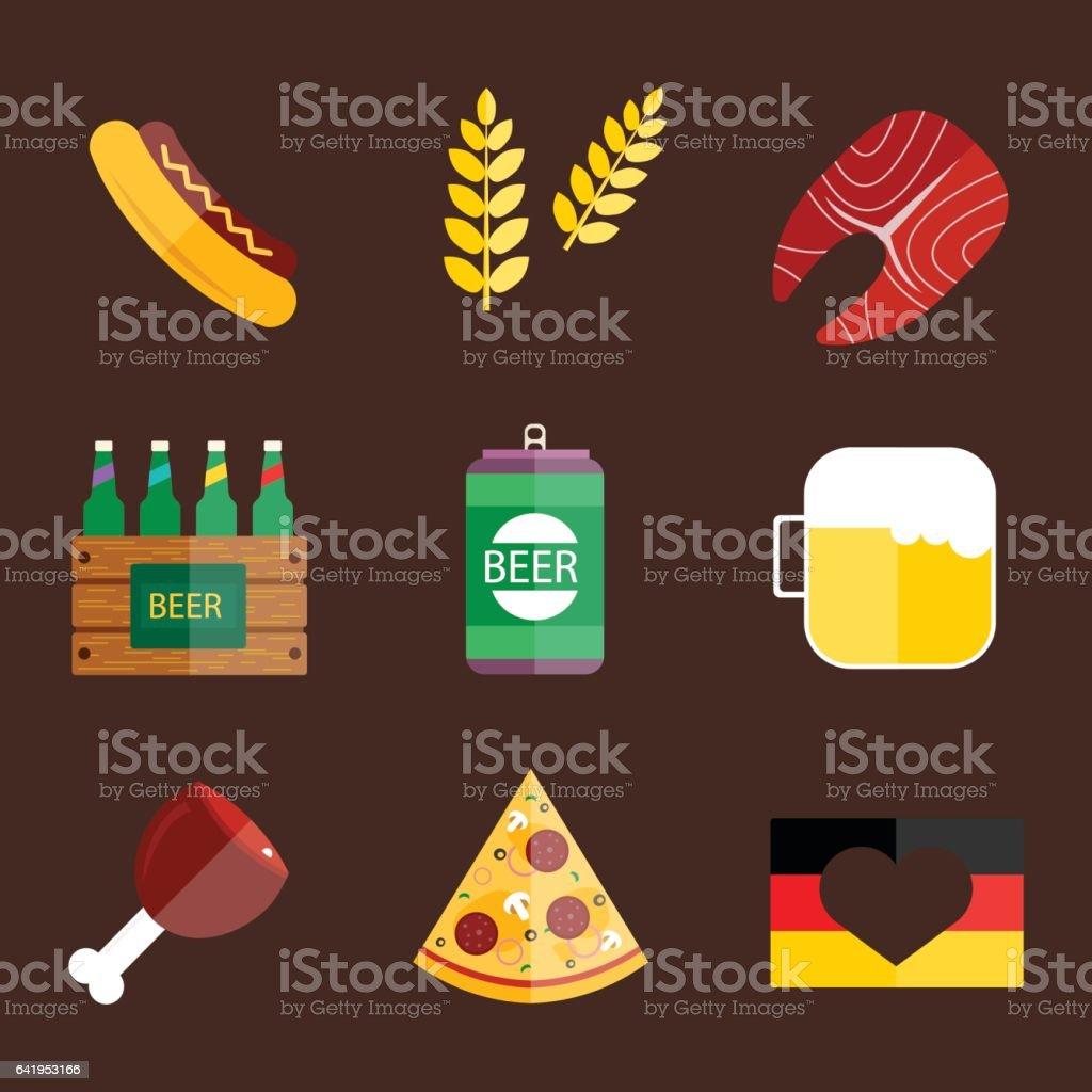 Oktoberfest set icons vector illustration vector art illustration