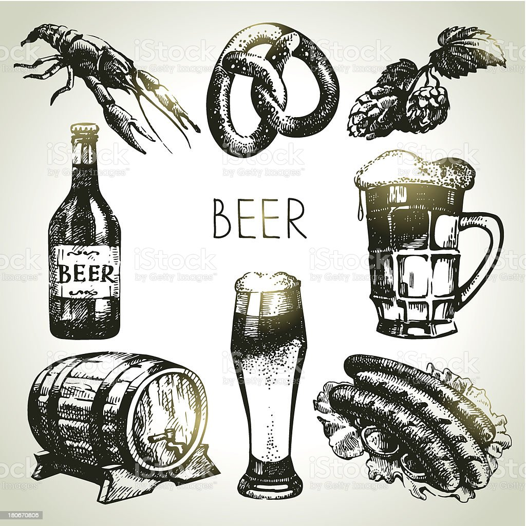 Oktoberfest set of beer vector art illustration