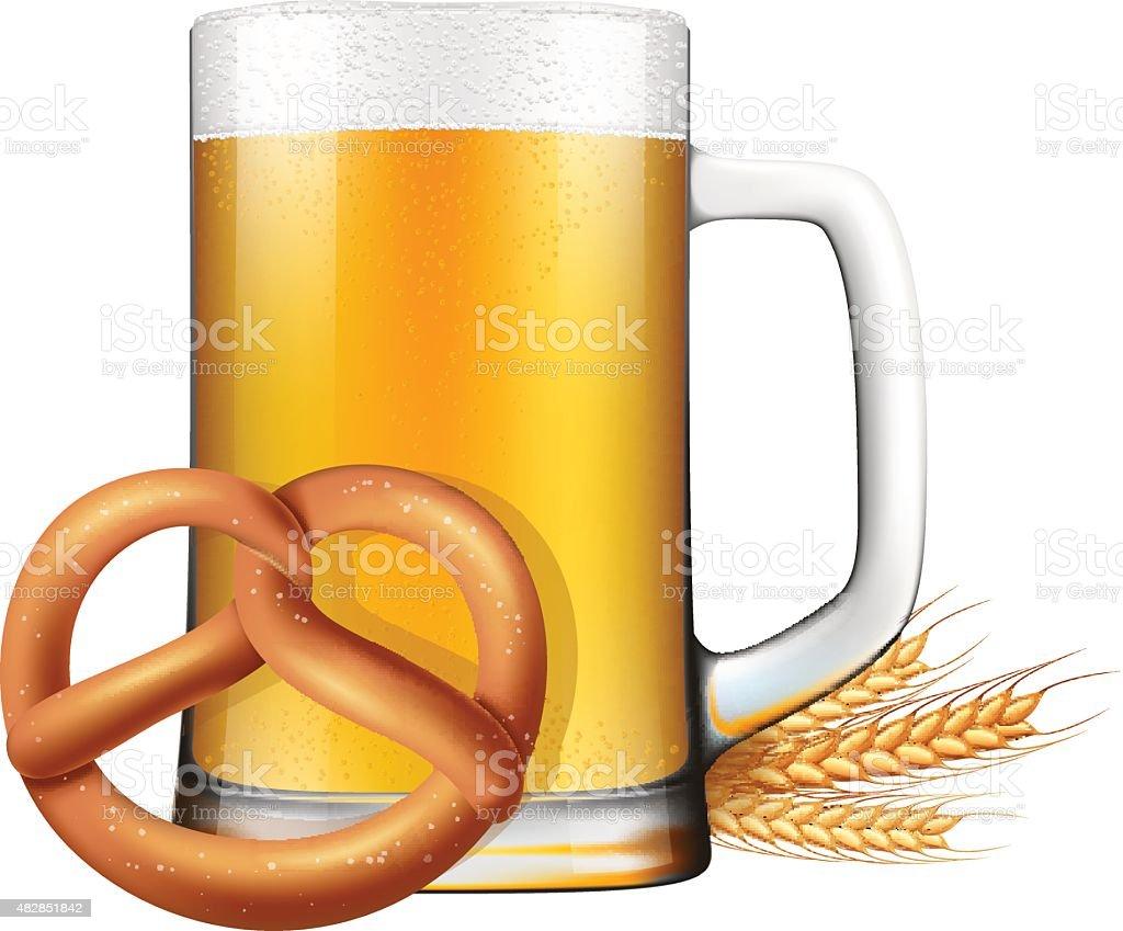 Oktoberfest style beer and pretzel. vector art illustration