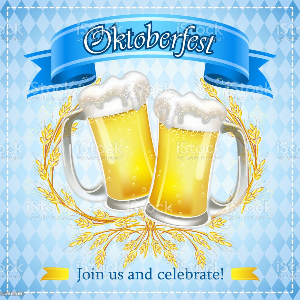 Oktoberfest wheat beers vector art illustration