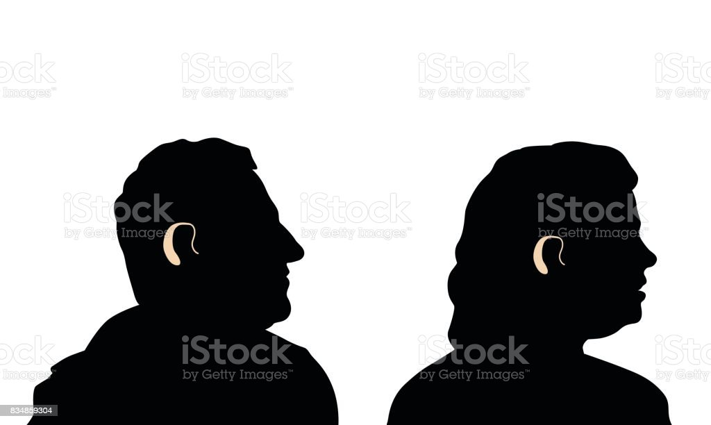 Old Age Hearing Loss vector art illustration