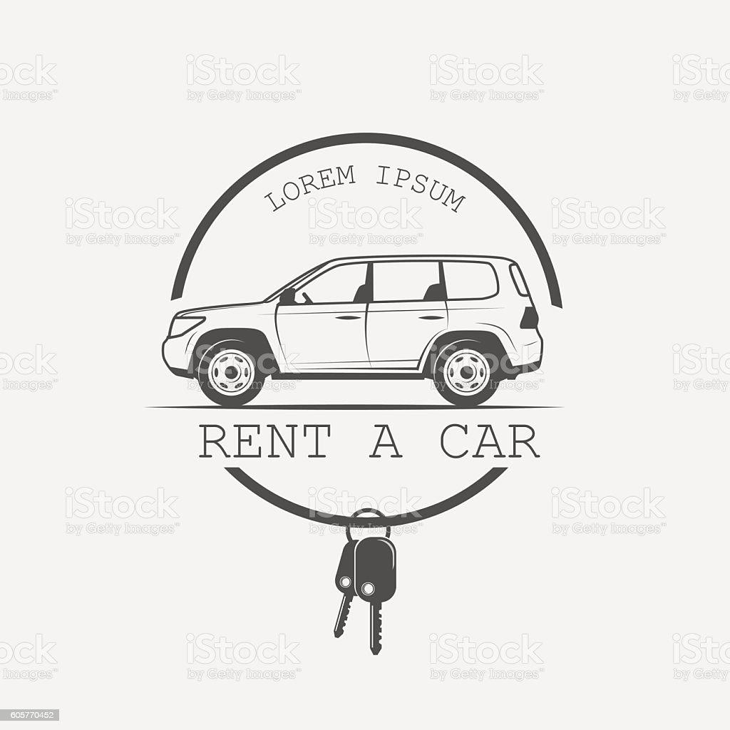 old American car rental vector art illustration