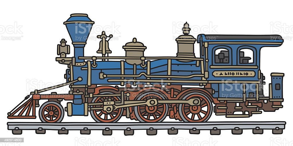 Cartoon Of An Old Steam Train On The Track Clip Art, Vector Images ...