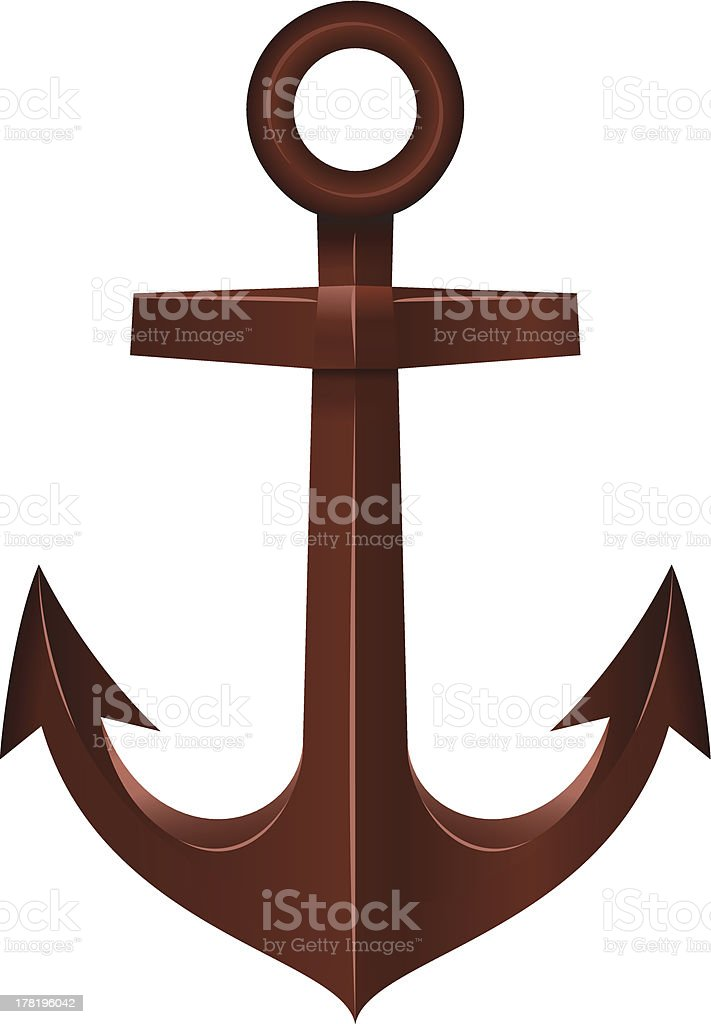 Old Anchor on white background royalty-free stock vector art