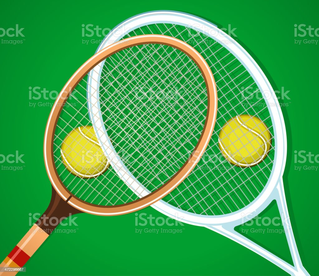 Old and modern tennis rackets on grass with two balls royalty-free stock vector art