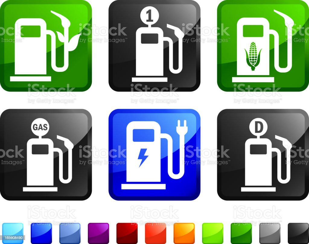 Old and New Gas Pump vector icon set stickers royalty-free stock vector art