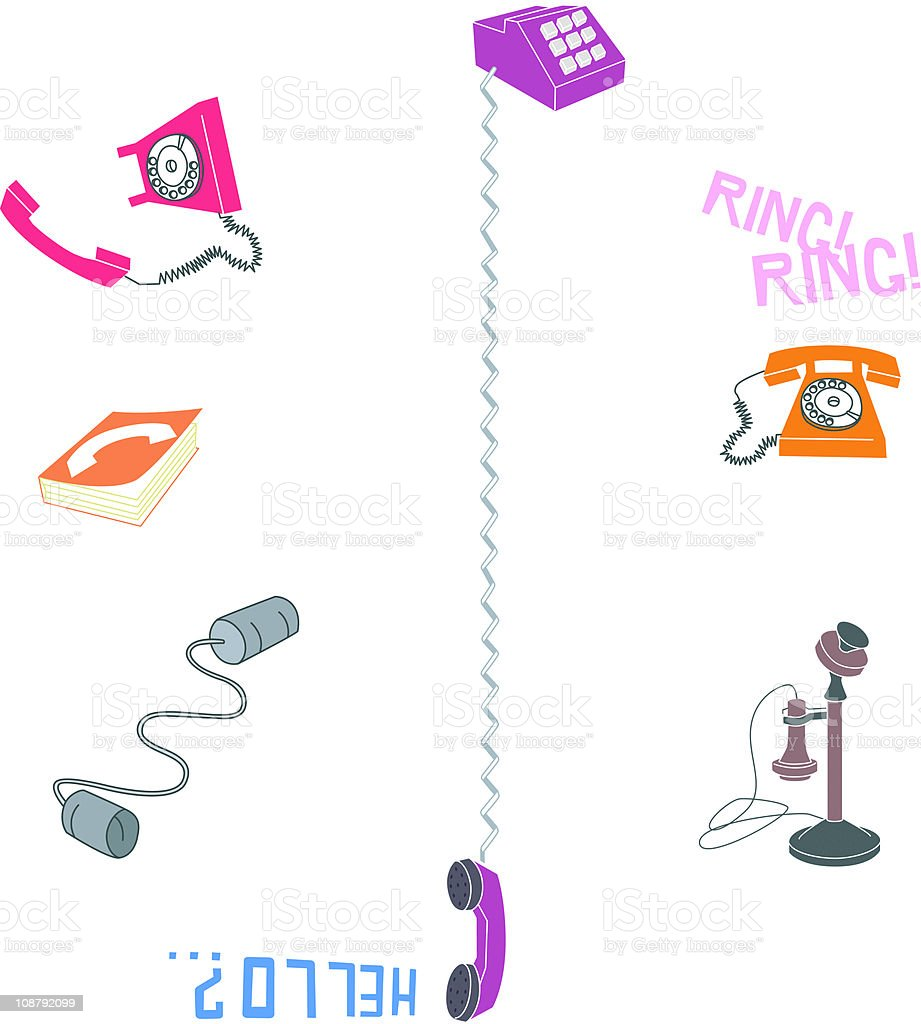old and new phones vector art illustration