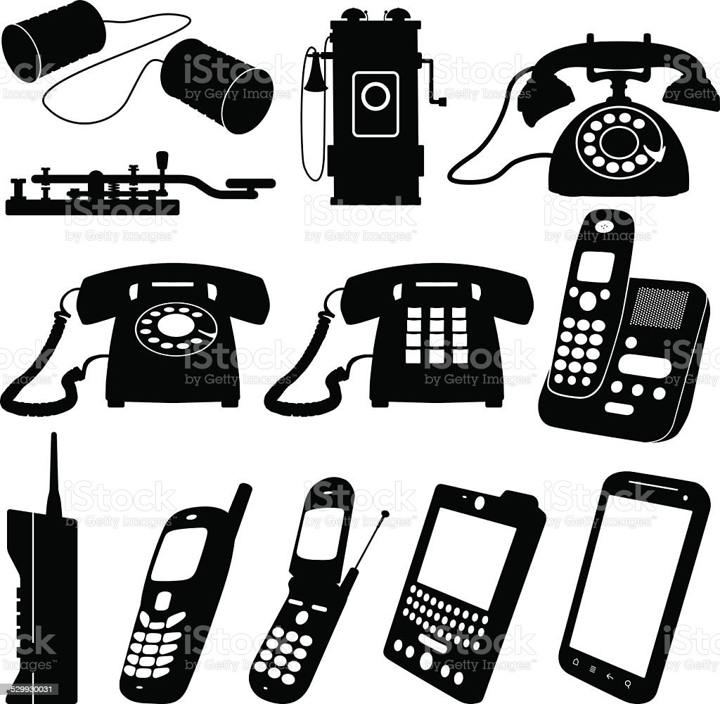 Old and New Telephones Vector Illustrations vector art illustration