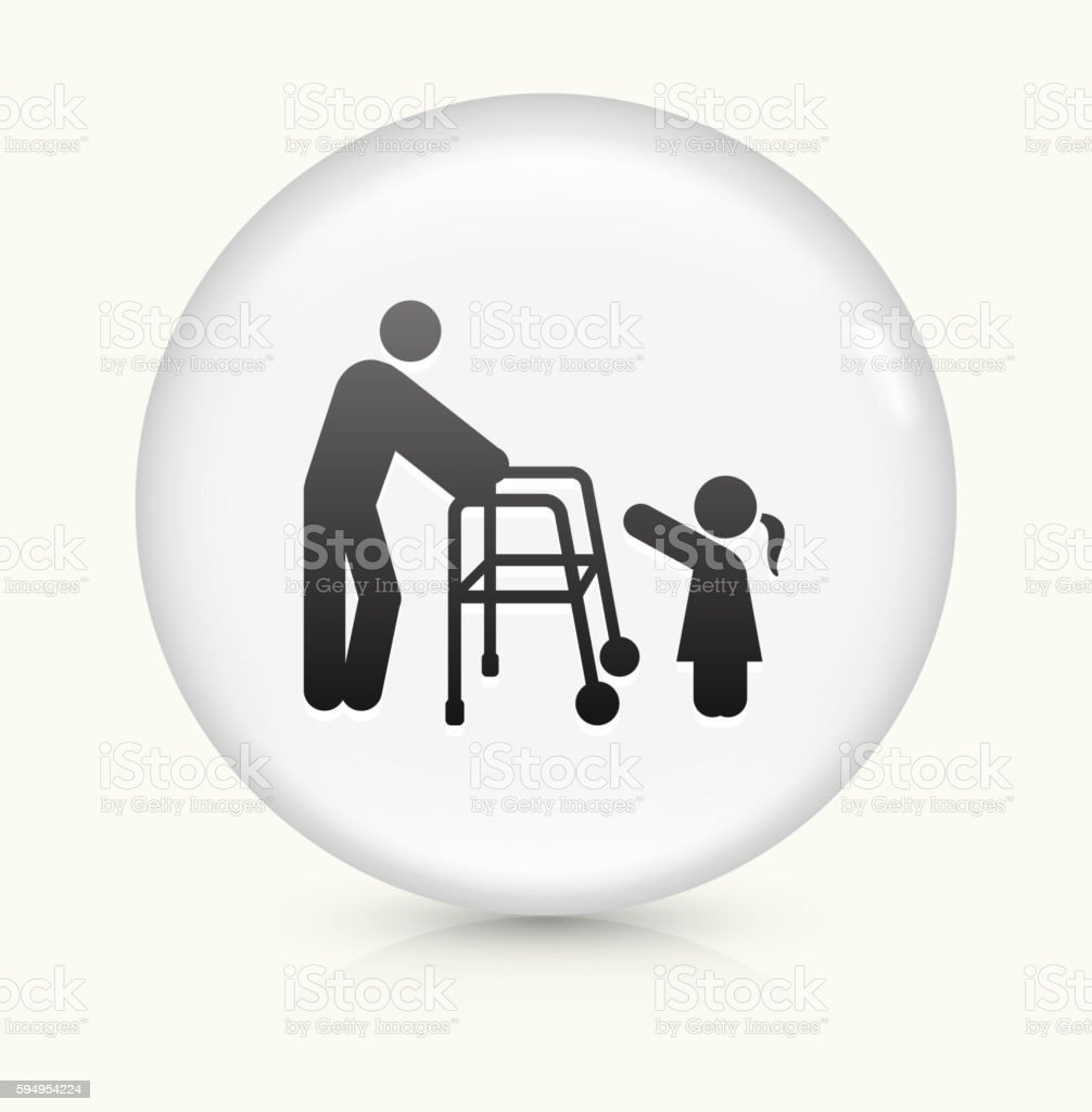Old and Young icon on white round vector button vector art illustration