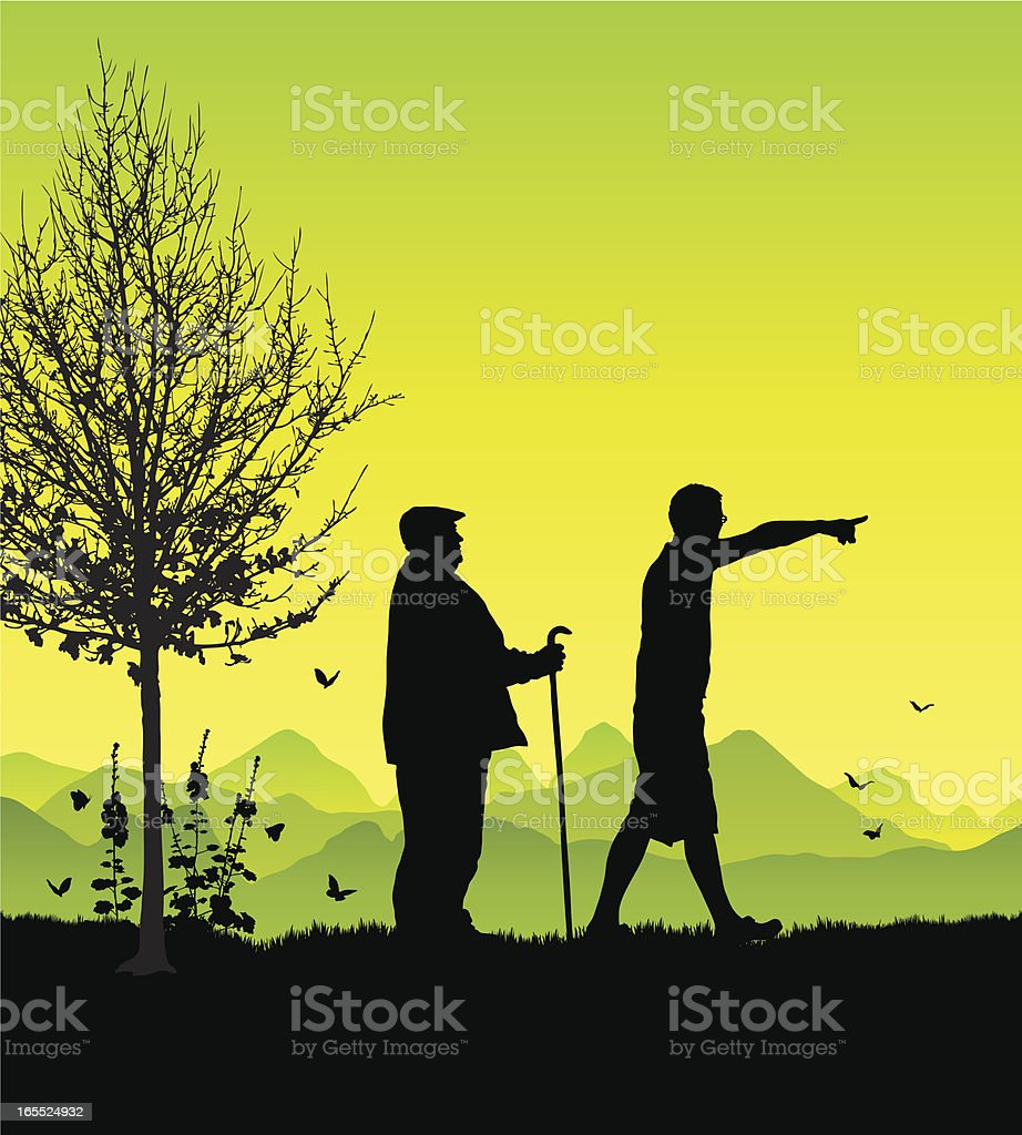 Old and young man together royalty-free stock vector art
