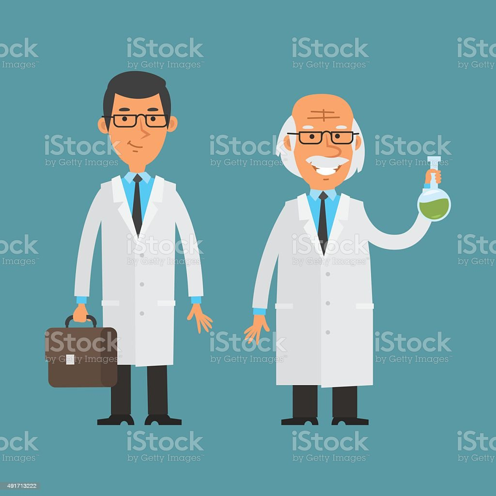 Old and young scientist standing and smiling vector art illustration