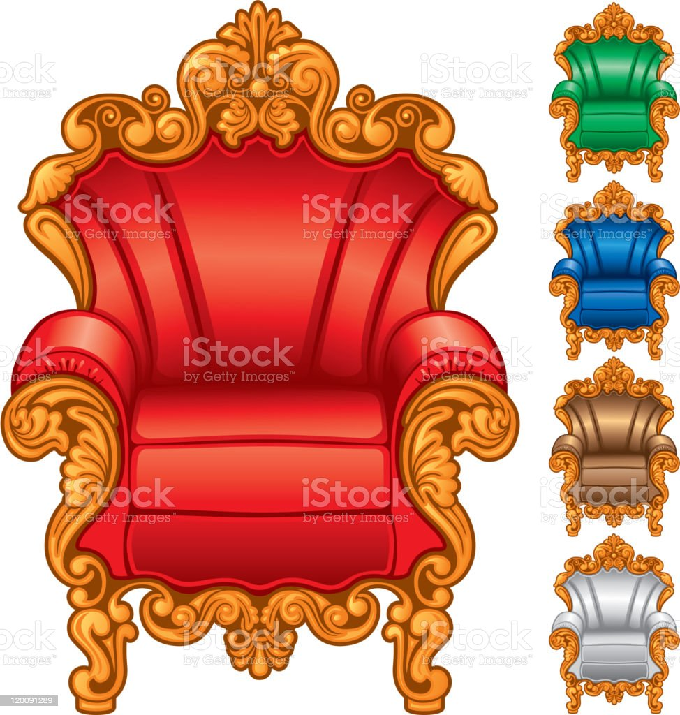 Old antique armchair royalty-free stock vector art