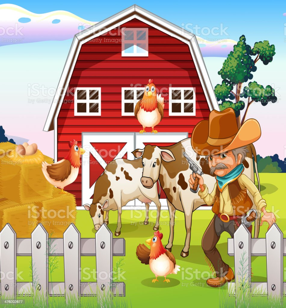 old armed cowboy at the farm with a red barnhouse royalty-free stock vector art