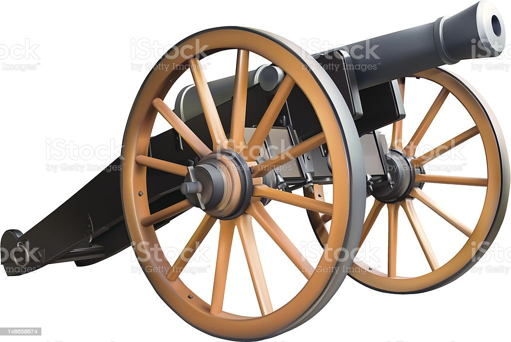 Old artillery cannon model in brown and black vector art illustration