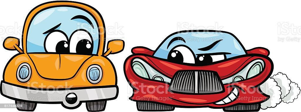 old automobile and sports car cartoon vector art illustration