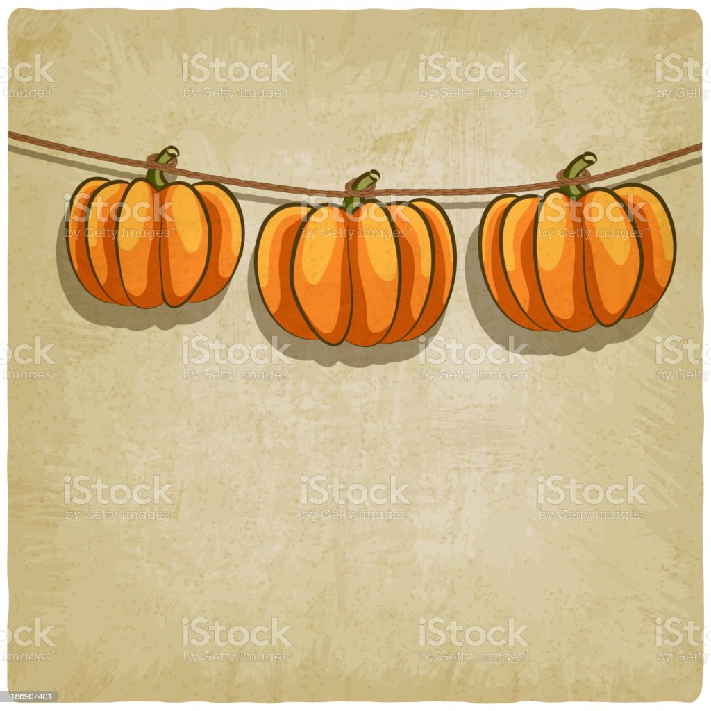 old background with pumpkins on rope royalty-free stock vector art