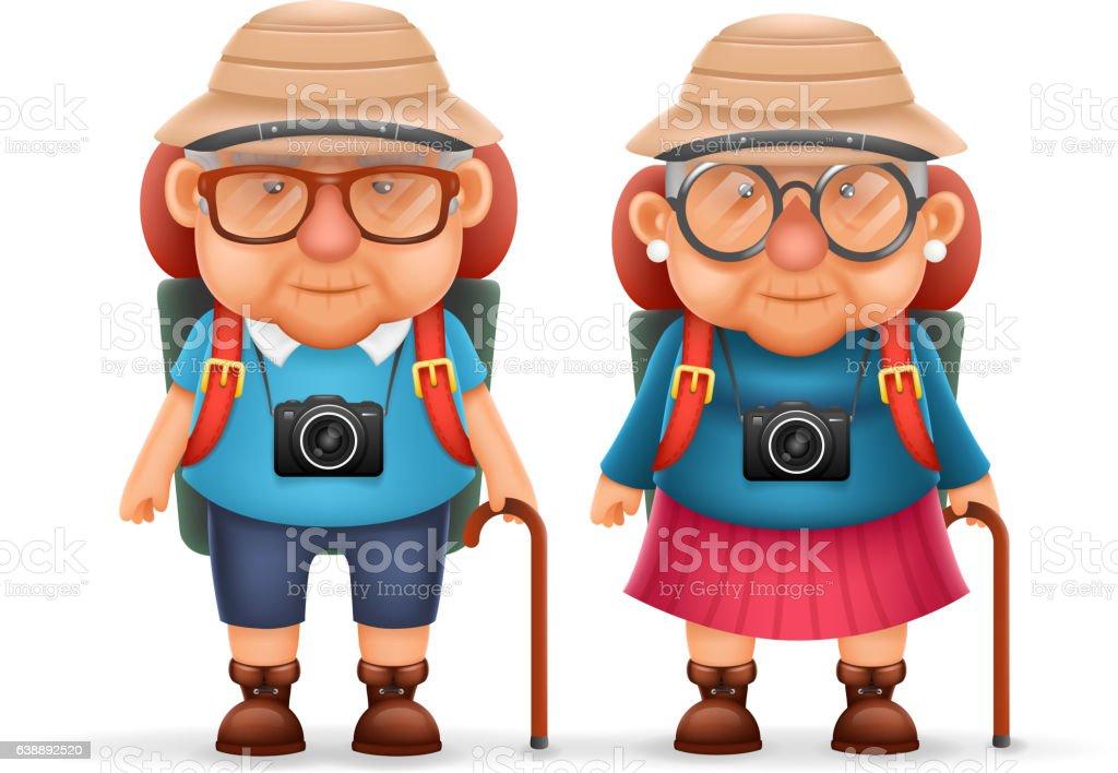 Old Backpacker Couple Photo Camera 3d Travel Realistic Cartoon Character vector art illustration