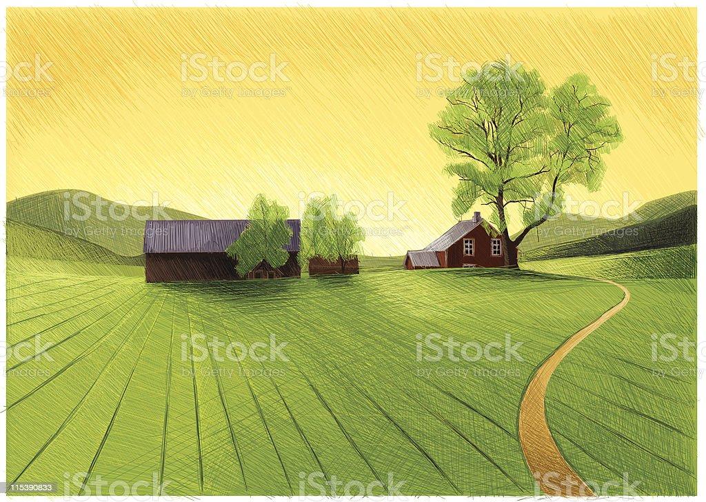 old barn and farm royalty-free stock vector art