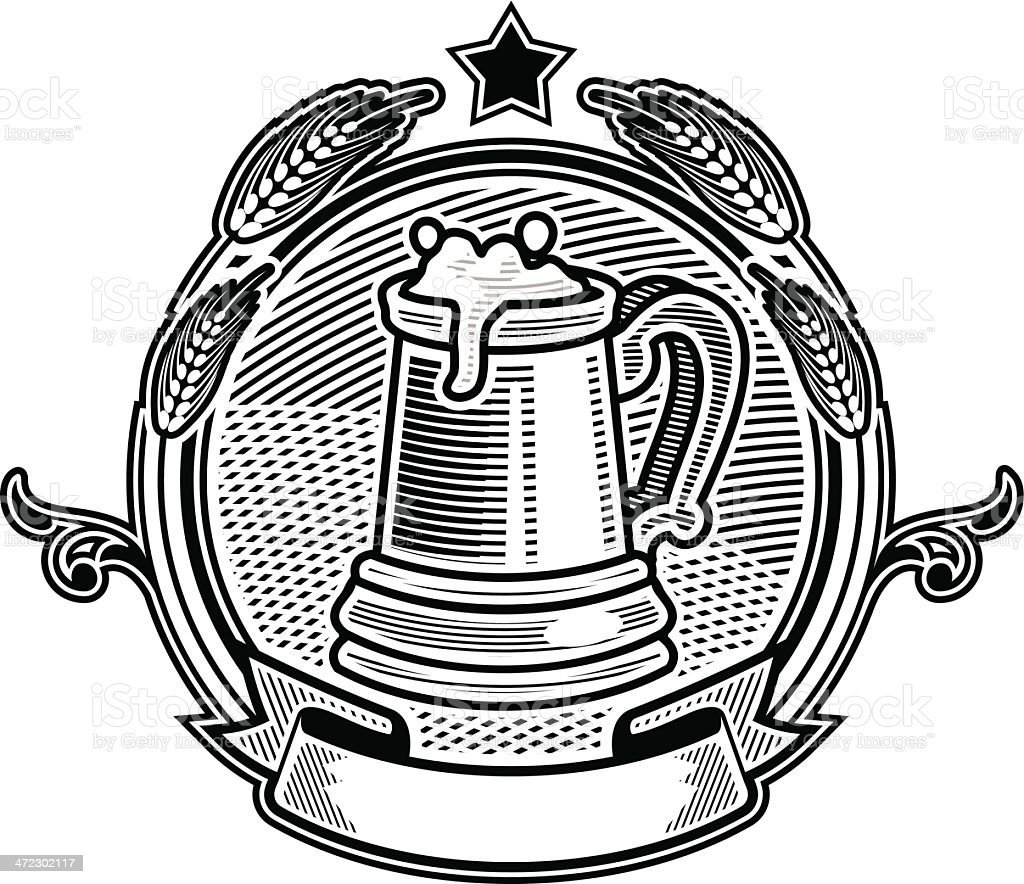 Old beer mug royalty-free stock vector art