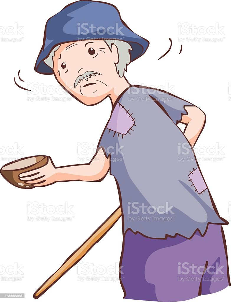 old beggar hold coconut shell and cane in ragged vector vector art illustration