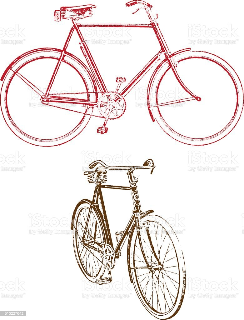 Old bicycle illustration vector art illustration
