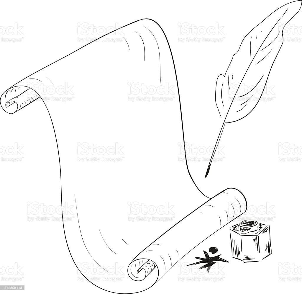 Old blank scroll paper and feather. royalty-free stock vector art