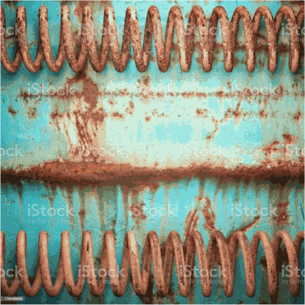 Old blue and rusted metal springs textured background vector art illustration