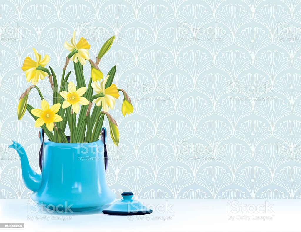 Old Blue Coffee Pot With Daffodils royalty-free stock vector art