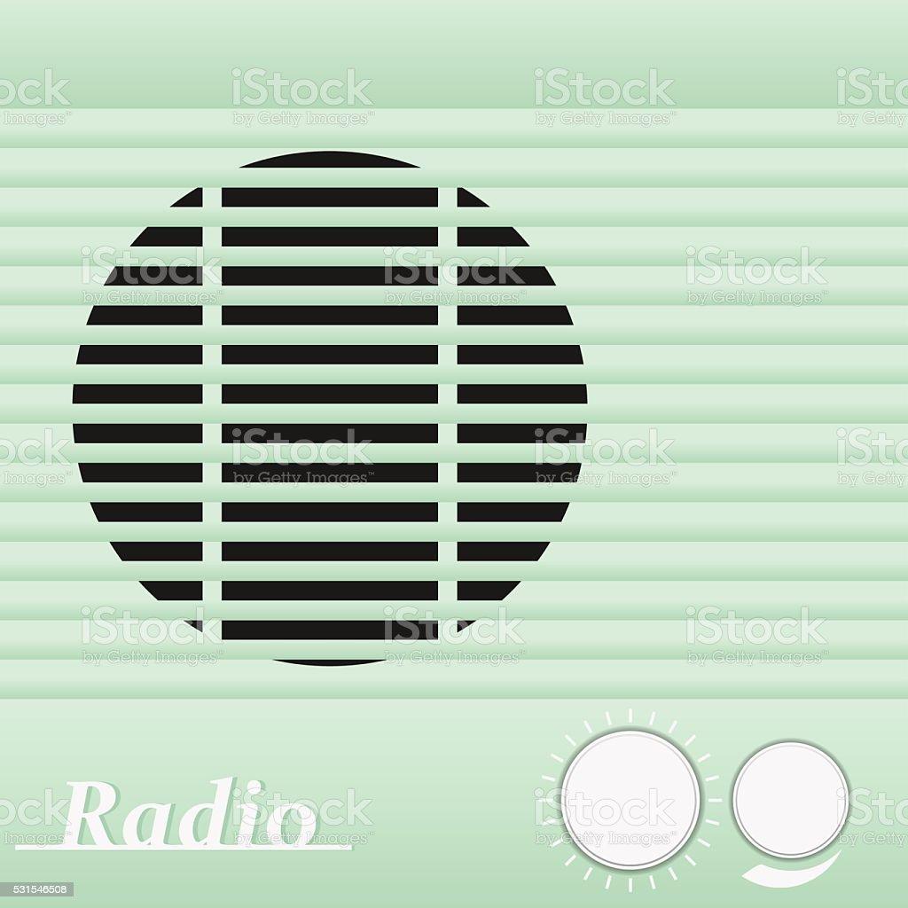 Old blue vintage retro style radio receiver. Vector illustration. vector art illustration