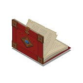 Old book or tutorial. Isometric flat vector.