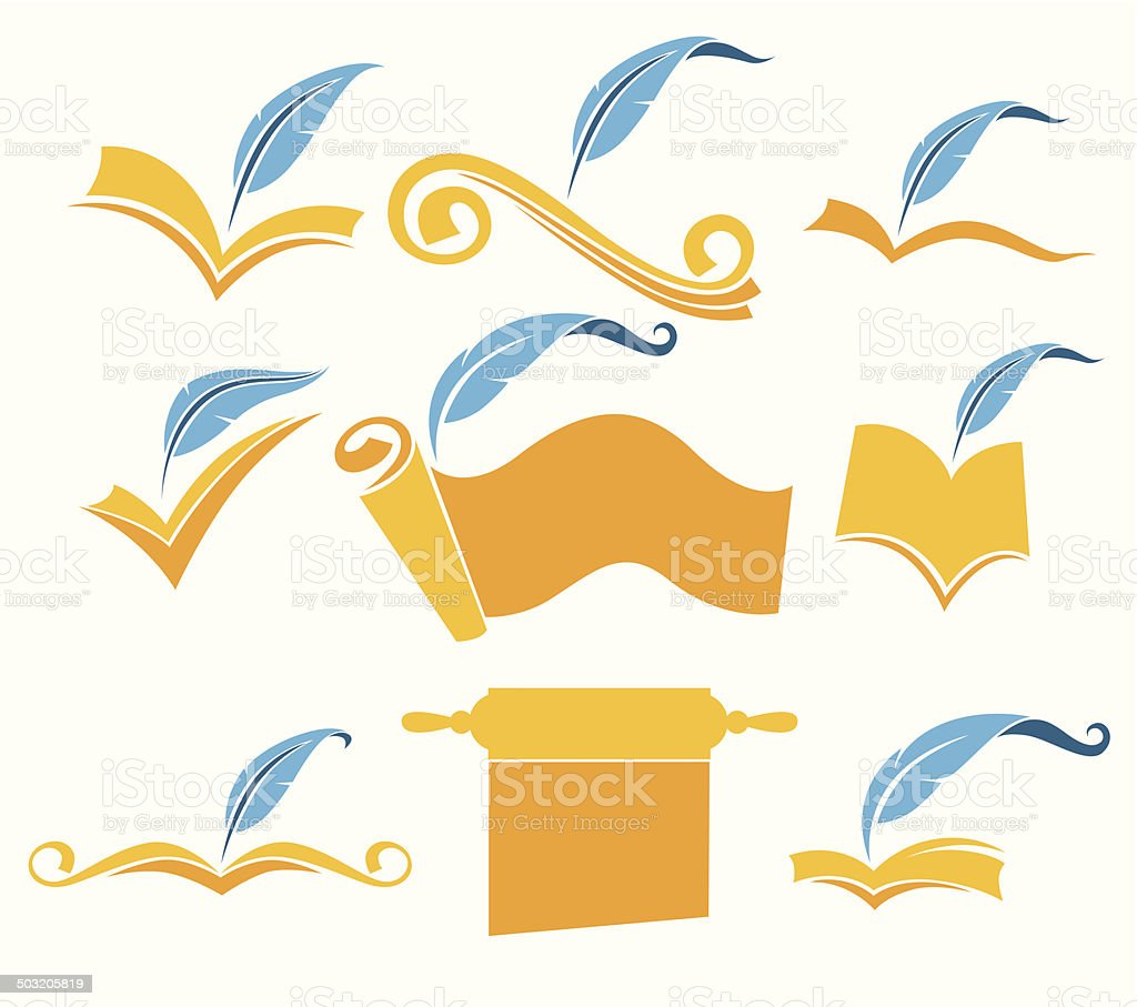 old books, parchment, poetry, literature and history symbols vector art illustration