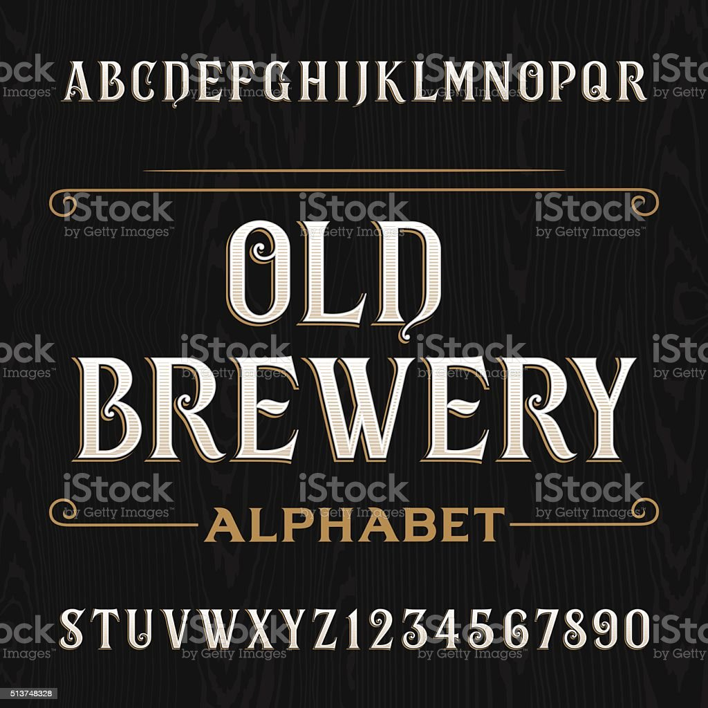Old brewery alphabet vector font. Type letters and numbers. vector art illustration