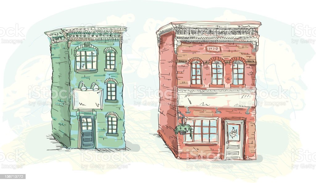 Old brick storefront buildings stock photo