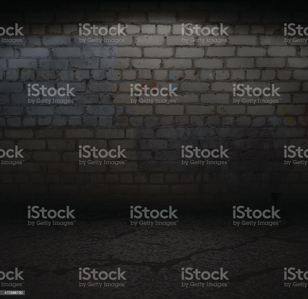 Old Brick Wall with Light vector art illustration