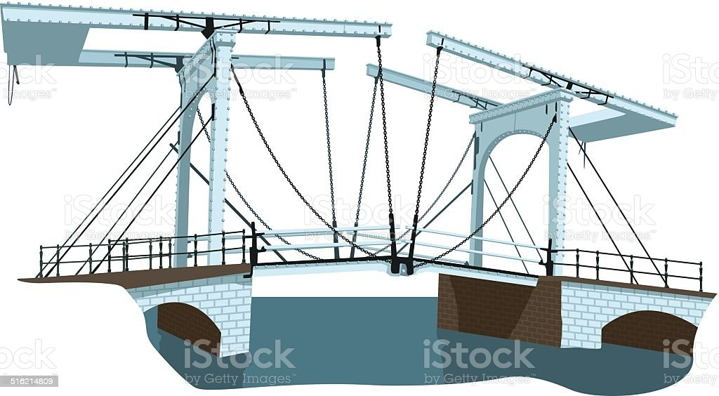 old bridge in Amsterdam vector art illustration