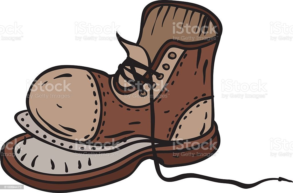 Old Brown Boot vector art illustration