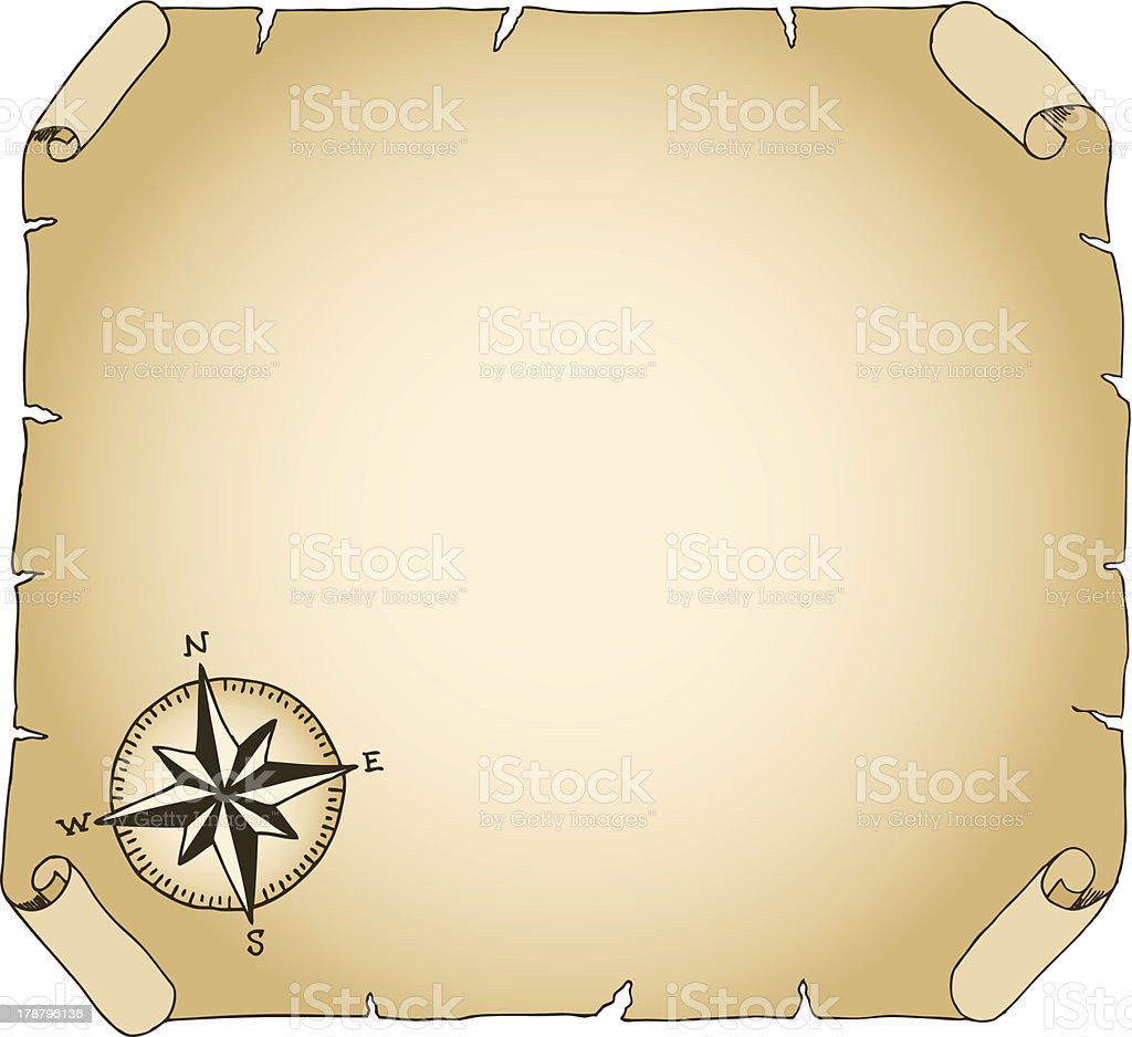 old brown parchment with compass rose royalty-free stock vector art