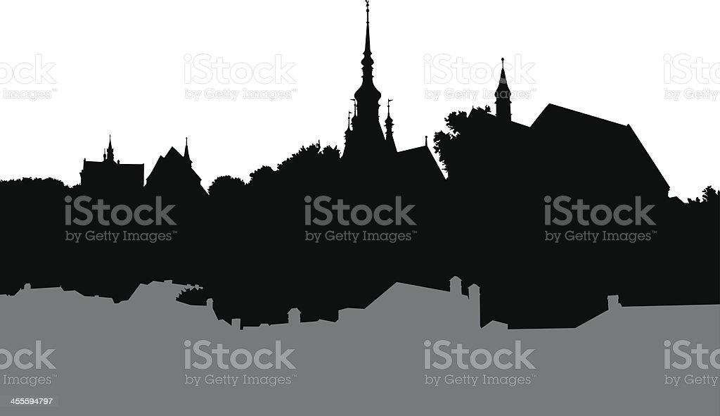 Old buildings shapes vector art illustration