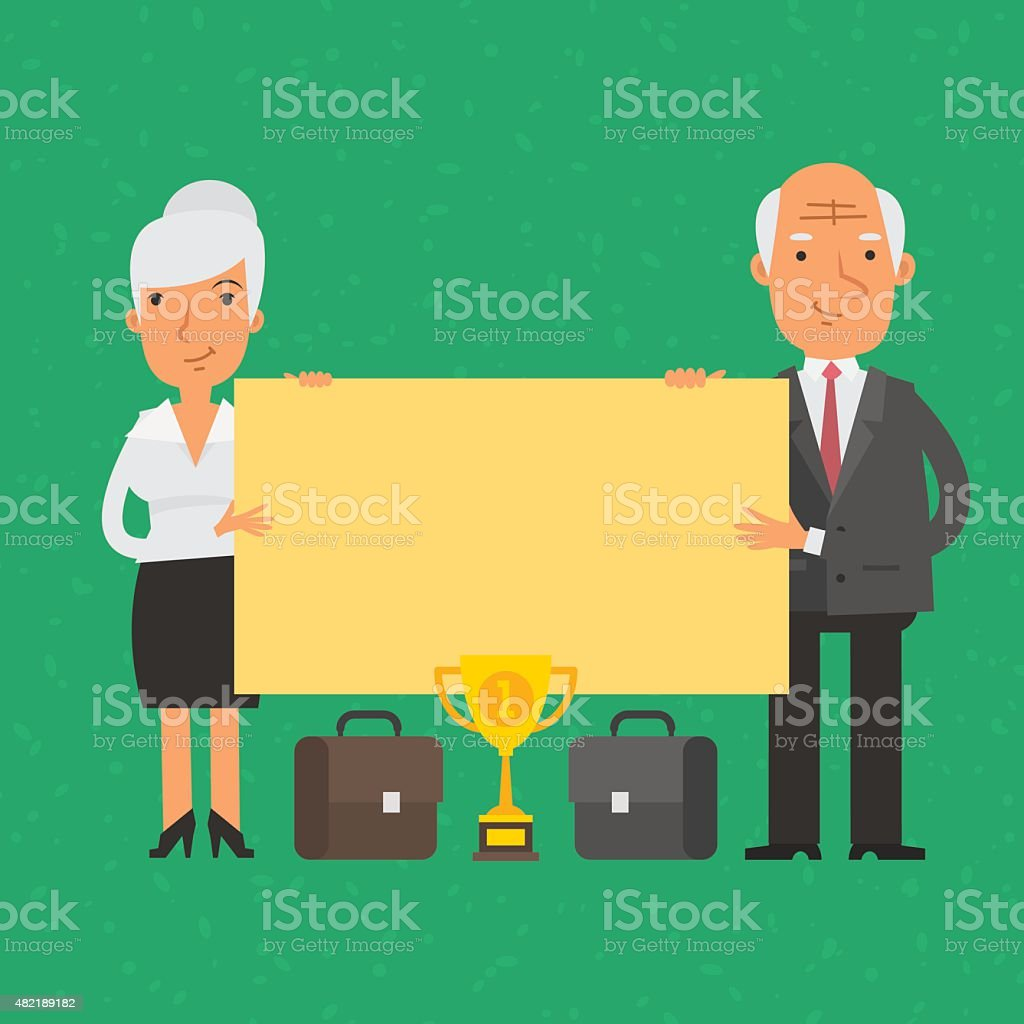 Old businessman and businesswoman holding blank poster vector art illustration