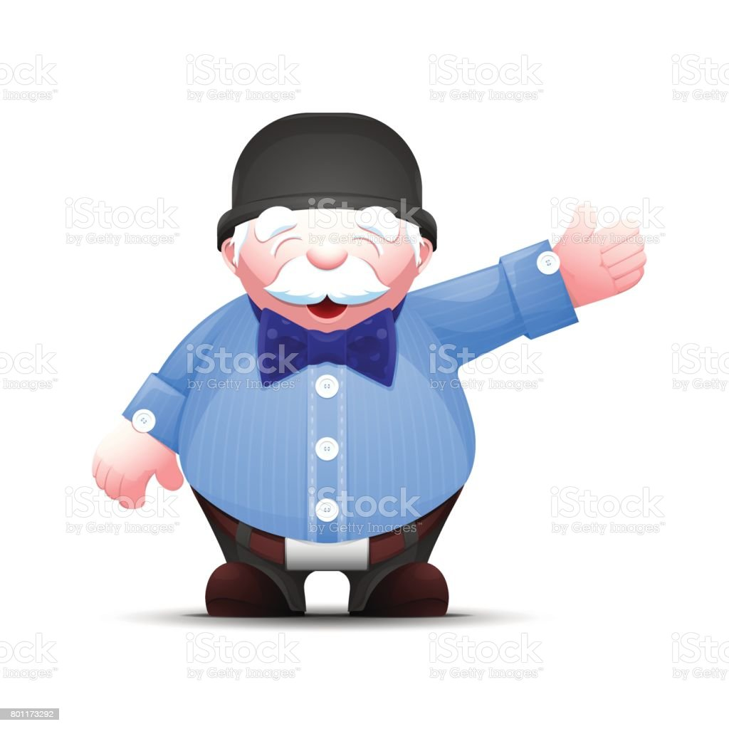 Old businessman stands and points to something vector art illustration