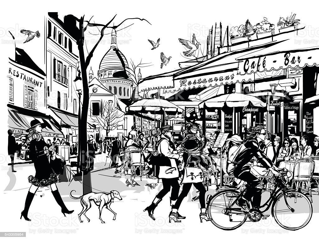 Old cafe in Paris Montmartre vector art illustration