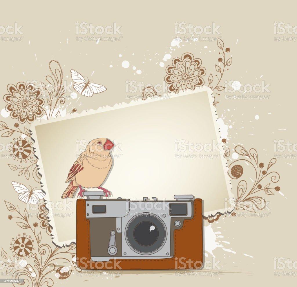 Old camera and bird royalty-free stock vector art