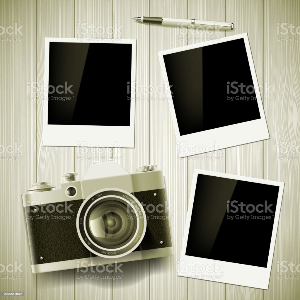 Old camera and photos lie on a wooden table. vector art illustration