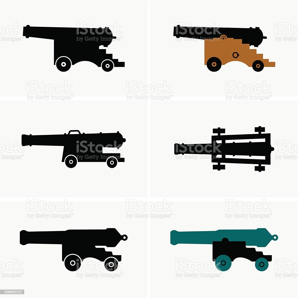 Old cannons vector art illustration