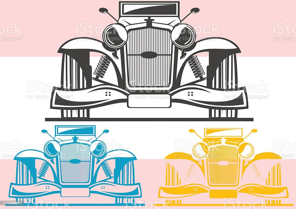 Old car front view royalty-free stock vector art