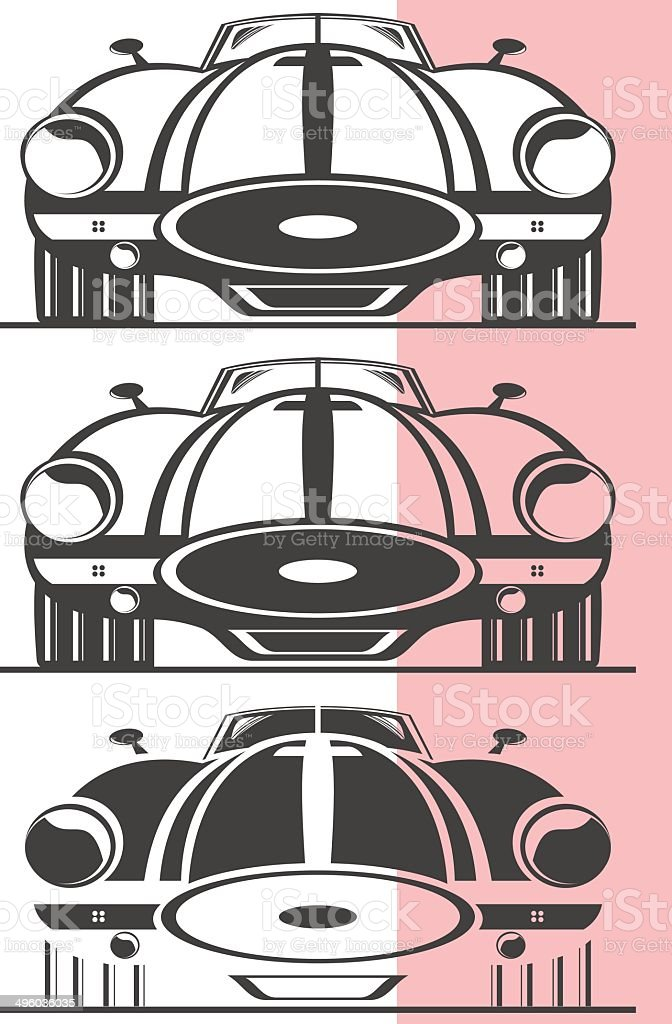 Old car front view vector art illustration